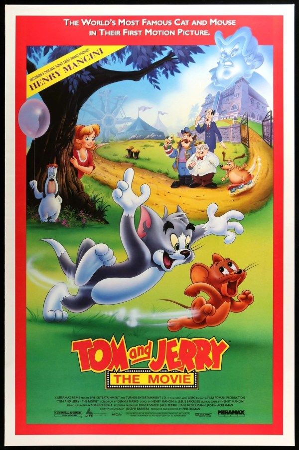 A onesheet poster for Tom & Jerry: The Movie. Tom is chasing Jerry as the other characters in the film look on from the background.