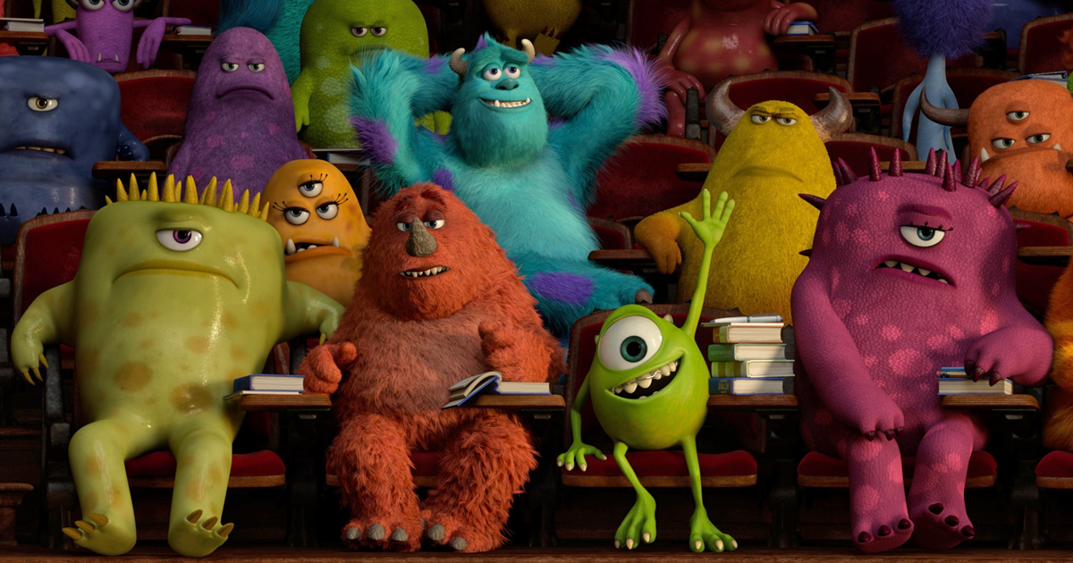 Mike and Sully attend class in Monsters University