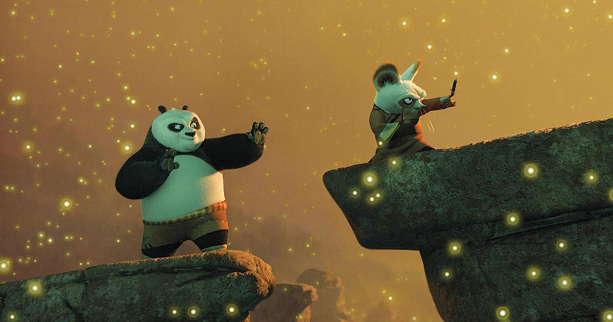 Po trains with Master Shifu in Kung Fu Panda