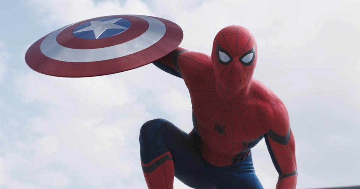 Spider-Man steals Captain America's shield